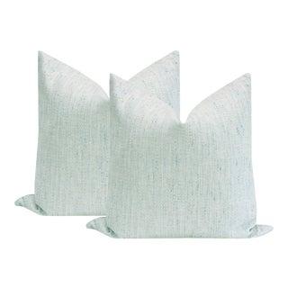 "22"" Metallic Linen Spa Blue Pillows - a Pair For Sale"