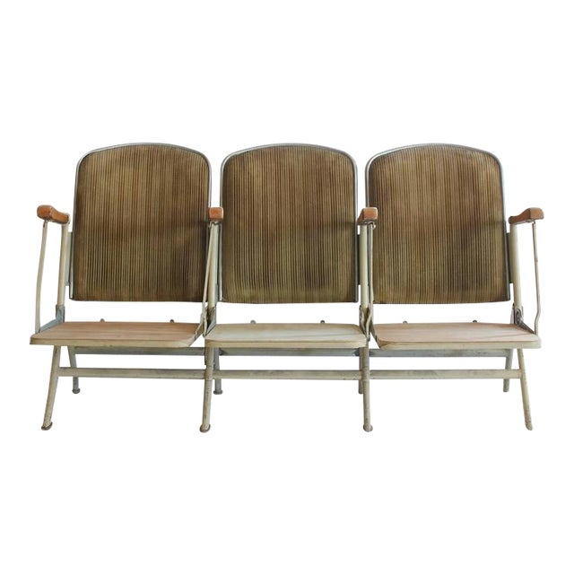 1920's Vintage American Stadium Three-Seat Bench For Sale