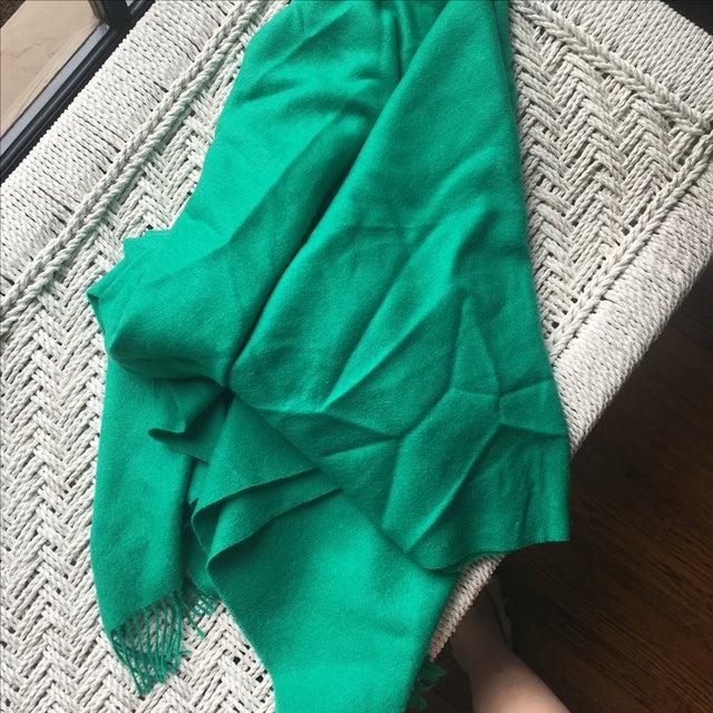 Emerald Green Alpaca Throw With Tassels - Image 5 of 5