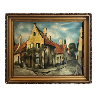 Early 20th Century Oil Painting Depicting a European Village For Sale
