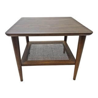 Mid Century Modern Lane Side Table with Cane Shelf For Sale