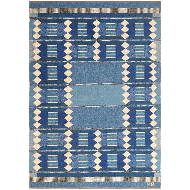 Vintage Swedish Scandinavian Kilim Rug - 5′6″ × 8′ For Sale - Image 9 of 9