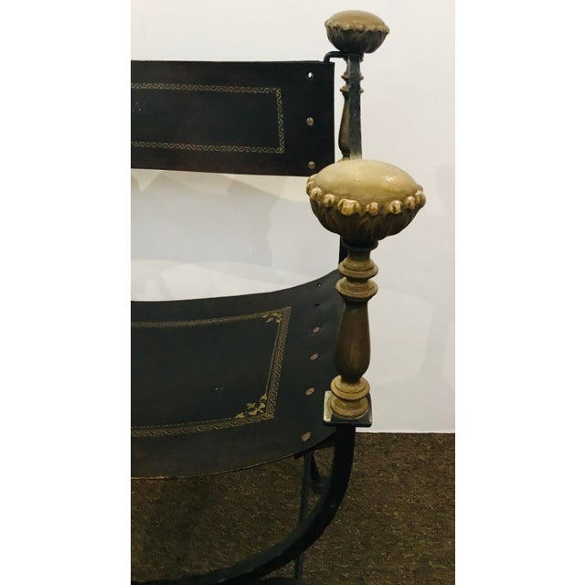 Antique Iron and Leather Campaign Chair For Sale - Image 4 of 8