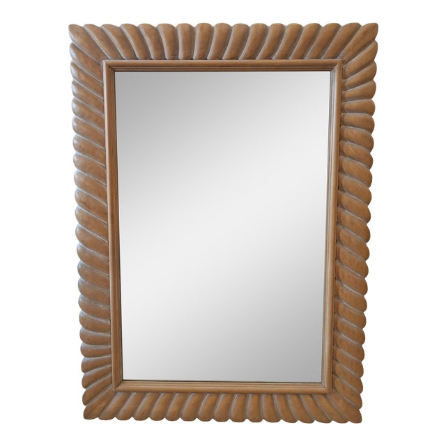 1970s Italian Carved Natural Wood Mirror For Sale
