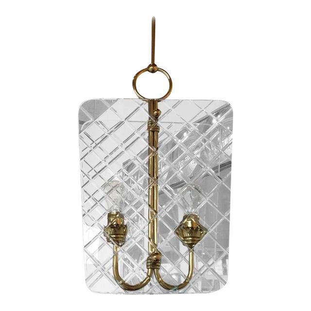 Mid Century Modern Italian Cut Crystal & Brass Chandelier by Pietro Chiesa for Fontana Arte - Image 1 of 9