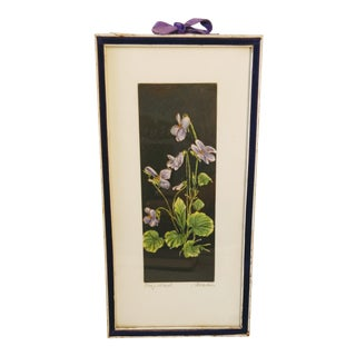 Mid 20th Century Violet Watercolor Painting West Germany Floral Etching For Sale