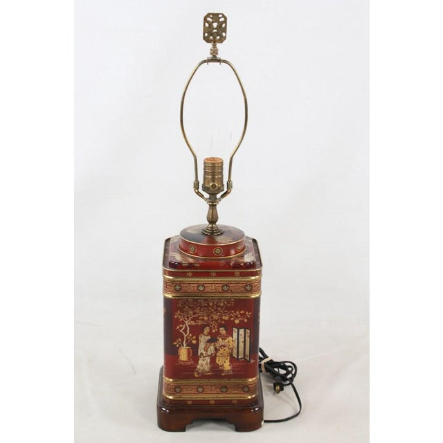 1960s Frederick Cooper Chinoiserie Tea Canister Converted Table Lamp For Sale - Image 9 of 9