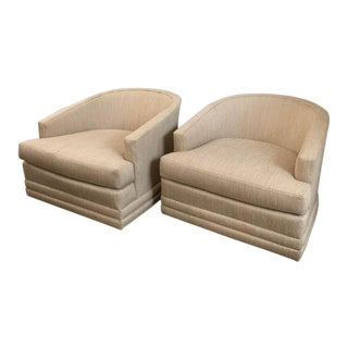 Mid Century Drexel Heritage Swivel Chairs, Signed For Sale