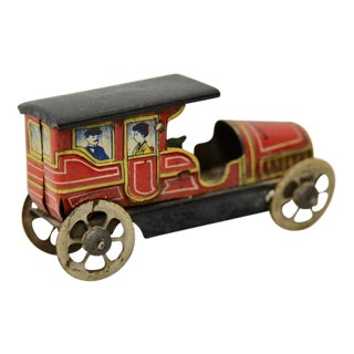 Rare German Penny Toy Car w/ Lithograph Passengers c.1910 For Sale