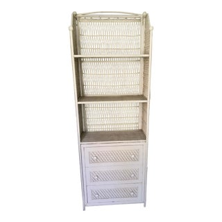 Tall White Wicker Cabinet