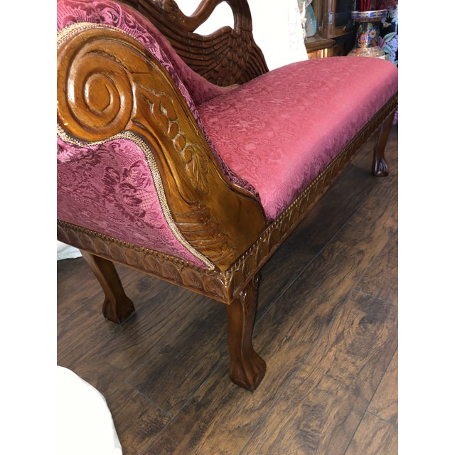 1940s Antique Raspberry Chaise For Sale - Image 4 of 13