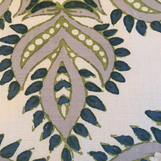 """Traditional John Robshaw """"Diba Peacock"""" Cotton Linen Blend Fabric For Sale - Image 3 of 6"""