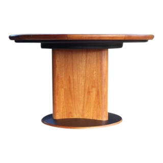 1970s Danish Modern Teak Expandable Round to Curved Triangle Dining Table by Skovby For Sale