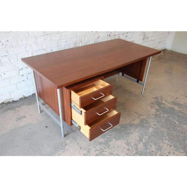 Metal Jens Risom Mid-Century Modern Executive Desk in Walnut, Cane, and Steel For Sale - Image 7 of 13