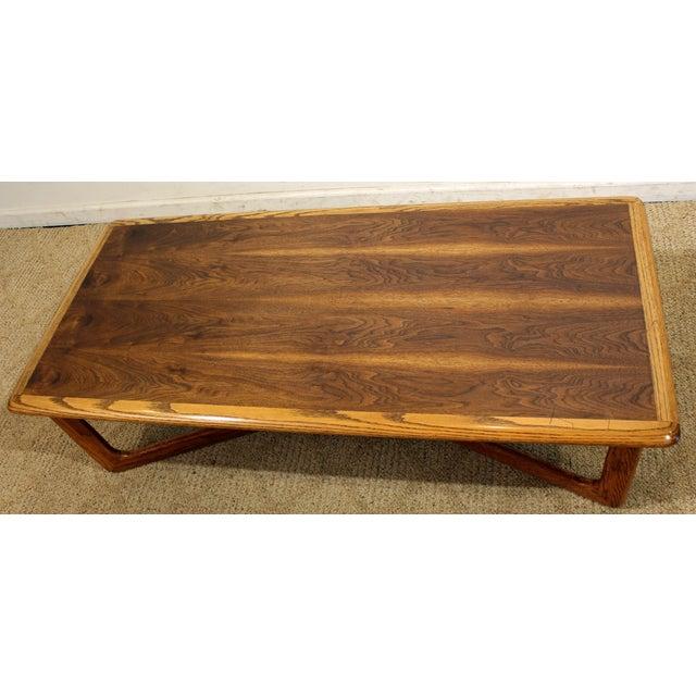 Lane Furniture Lane Perception Mid-Century Oak Walnut X-Base Coffee Table For Sale - Image 4 of 11