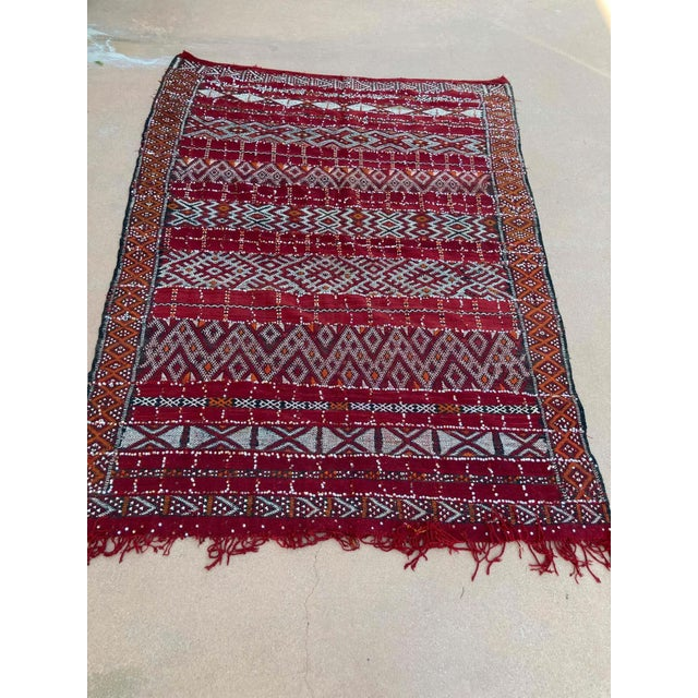 1960s Moroccan Vintage Ethnic Textile with Sequins North Africa, Handira For Sale - Image 5 of 13