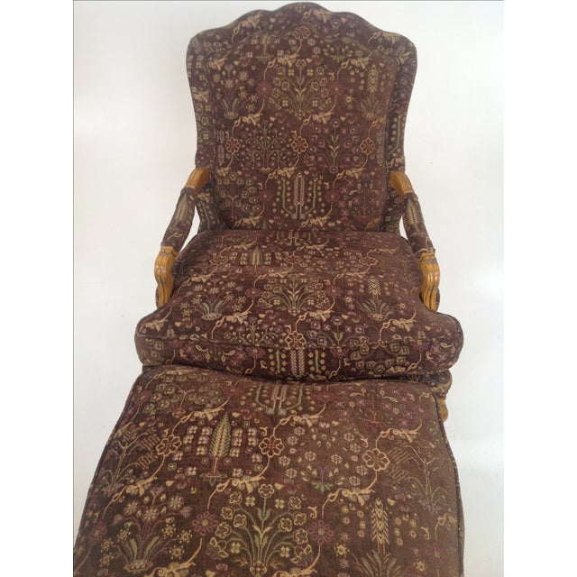 Baker Country French Lounge Chair & Ottoman - Image 6 of 8