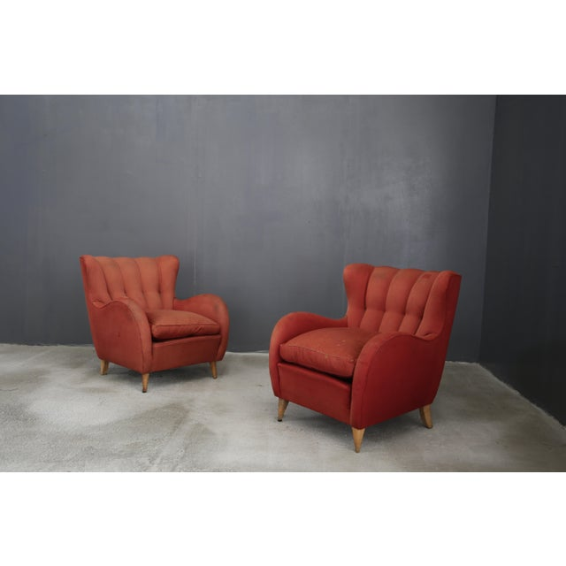 Wood Pair 40s Armchairs Attributed to Gio Ponti For Sale - Image 7 of 7
