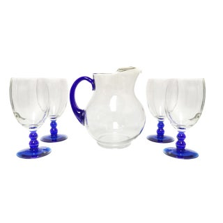 Libbey Blue Pitcher and Goblet Glasses Iced Tea Set of 5 For Sale