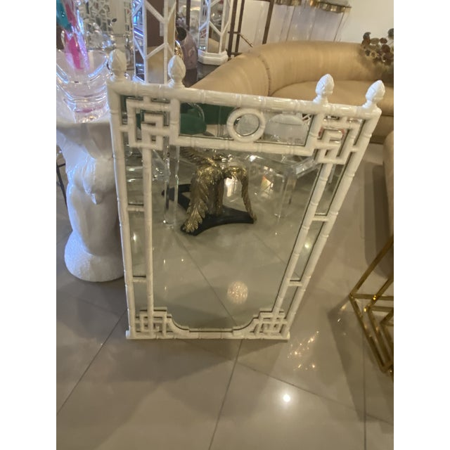 Vintage Chinese Chippendale White Faux Bamboo Greek Key Wall Mirror For Sale - Image 10 of 12