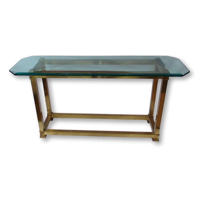 Vintage Brass Neoclassical Console Table With Beveled Glass Top - Image 1 of 5