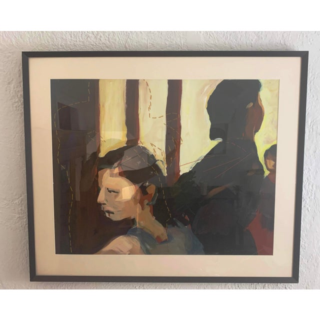 Antique White Susan Durfee Thulin 'The Dance' Large Framed Painting For Sale - Image 8 of 13