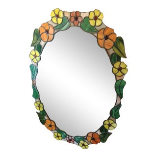Late 20th Century Stain Glass Mirror For Sale