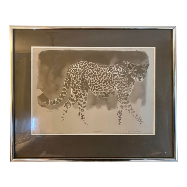 """Vintage Framed Limited Edition African """"Cheetah"""" by Robert K McDonald For Sale"""