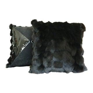 Black Fox Pillows - A Pair For Sale