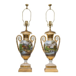 Pair of 19th Century Old Paris Lamps For Sale