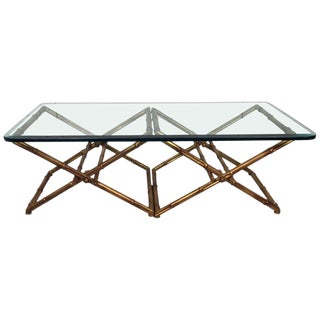 1960s Mid-Century Modern Glass and Gilt Metal Faux Bamboo Cocktail Table For Sale