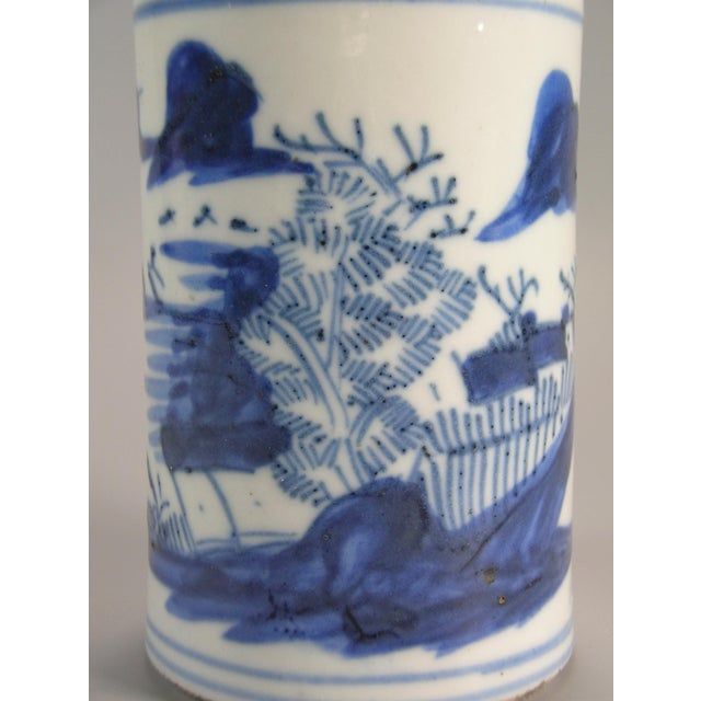 Late 19th Century 19th Century Chinese Small Blue and White Brush Pot/Bitong For Sale - Image 5 of 11