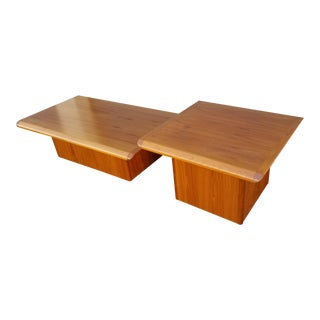 1970s Danish Modern Teak Pedestal Base Coffee and Side Table Set - 2 Pieces For Sale