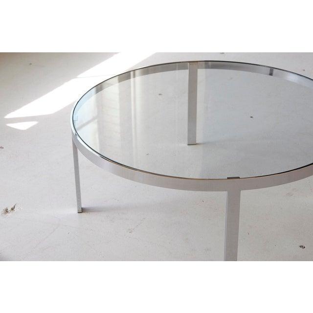 Milo Baughman Chrome Coffee Table: Exquisite Milo Baughman Round Chrome And Glass Coffee