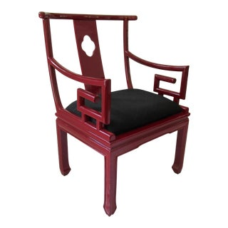 1980s High Gloss Candy Apple Red Lacquered Asian Ming Lounge Chair With Greek Key Arms For Sale