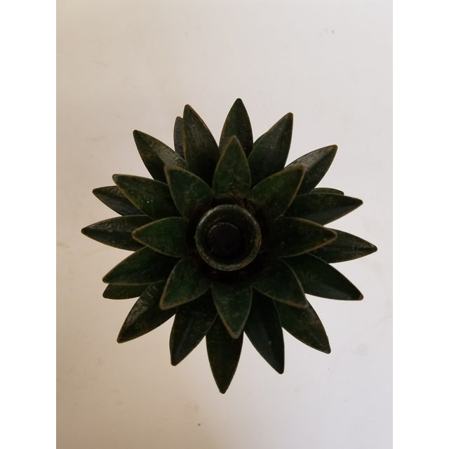 Petite Choses Tole Palm Tree Candlestick For Sale - Image 4 of 5