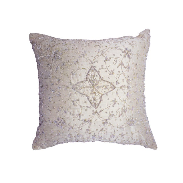 Embroidered Ivory Beaded Silk Pillow - Image 1 of 3