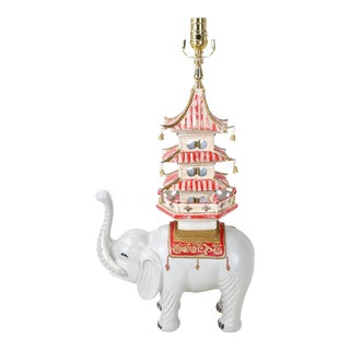 Vintage Hand Painted White Elephant Carrying Pagoda Lamp For Sale