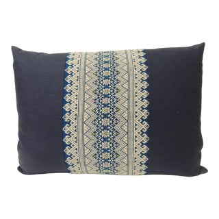 1970s Blue and White Embroidered Asian Lumbar Pillow For Sale