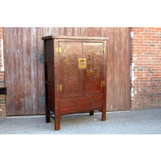 Chinoserie Red & Gilt Asian Armoire Preview