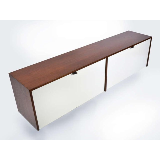 Pair of Florence Knoll Walnut Wall Mounted Credenzas or Cabinets For Sale - Image 10 of 10