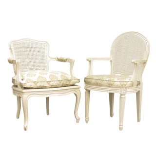 French Painted Cane Arm Chairs - A Pair For Sale