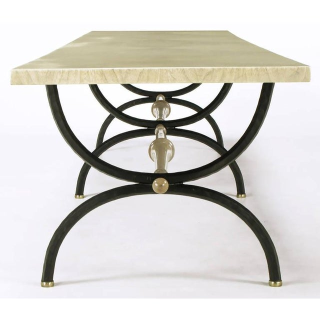 1950s Tomlinson Driftwood Glazed Coffee Table with Triple-Curule Forged Iron Base For Sale - Image 5 of 8