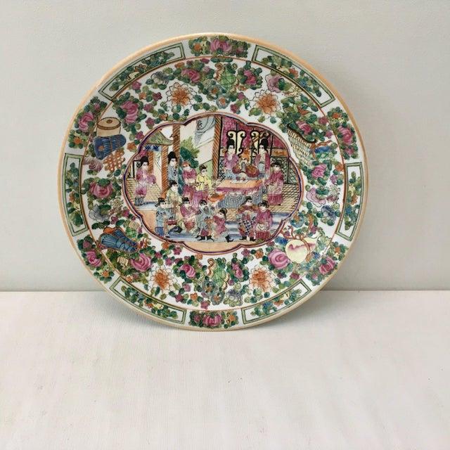Large Vintage Rose Medallion Bowl For Sale - Image 10 of 10