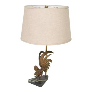 Hollywood Regency Rooster Bronze Sculpture Table Lamp For Sale