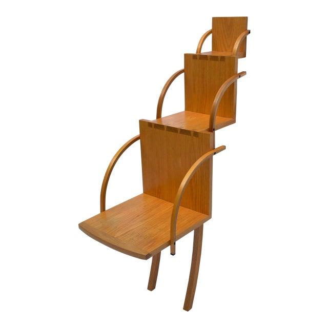 1970s Vintage Handmade Step Leaning Shelf For Sale
