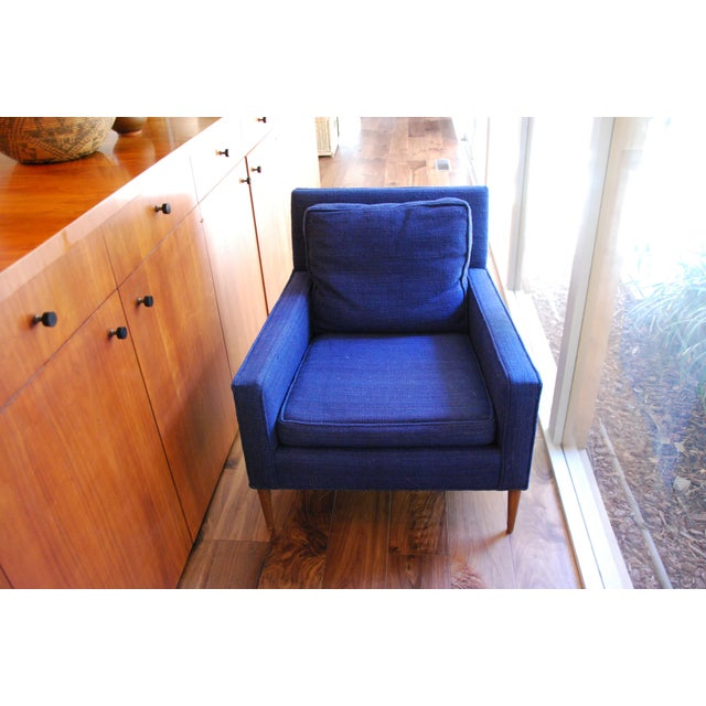 100% Navy wool Mid Century Modern Armchair. Has been covered since it was handmade in 1960. This beauty has been in my...