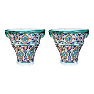 A Large and Vibrantly Glazed Pair of Moroccan Conical-Form Double-Handled Pots; Purchase in Fez, Morocco For Sale