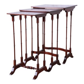 Baker Furniture Historic Charleston Collection Mahogany Nesting Tables, Set of 3 For Sale