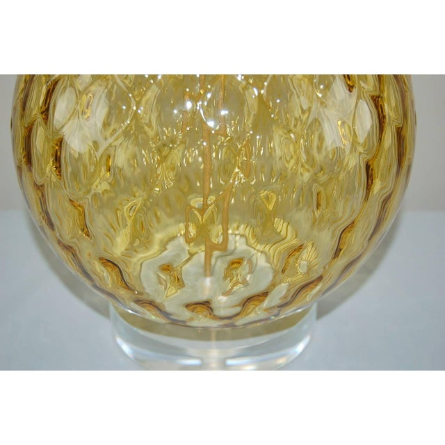 White Vintage Murano Stacked Ball Glass Table Lamps Gold For Sale - Image 8 of 10